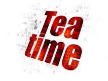 Concept de chronologie : Temps de thé sur le fond de Digital Photographie stock