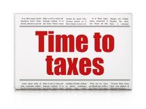 Concept de chronologie : temps de titre de journal aux impôts Photos libres de droits