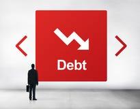 Concept de chute de difficulté de risque de dette Photographie stock libre de droits