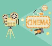 Concept de cinéma dans le rétro style Images libres de droits