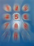 Concept de cinq numéros, segment de mémoire de chiffres, Images stock