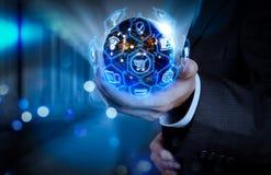 Concept de commerce électronique avec l'interface numérique de VR avec des icônes de shopp photos stock