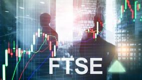 Concept de commerce d'investissement du Royaume-Uni R-U Angleterre d'index de bourse des valeurs de FTSE 100 Financial Times avec illustration de vecteur