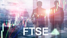 Concept de commerce d'investissement du Royaume-Uni R-U Angleterre d'index de bourse des valeurs de FTSE 100 Financial Times avec photos libres de droits