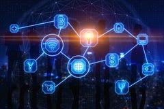 Concept de communication, d'AI et de finances illustration stock