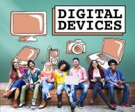 Concept de communication de connexion de l'électronique de dispositifs de Digital Photos libres de droits