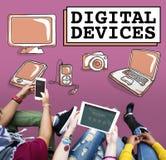 Concept de communication de connexion de l'électronique de dispositifs de Digital Photo libre de droits