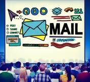 Concept de communication de lettre de boîte de réception de message de courrier image libre de droits
