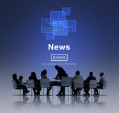 Concept de communication de mise à jour de rapport d'information d'actualités télévisées Photos libres de droits