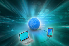 Concept de communication de réseau global et d'Internet Images libres de droits