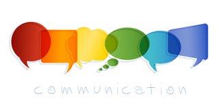Concept de communication et de réseau Bulle d'isolement de la parole avec des couleurs d'arc-en-ciel Transmission des textes La c illustration libre de droits