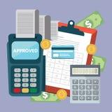 Concept de comptabilité, articles de rabotage d'affaires facture Calculs financiers illustration libre de droits