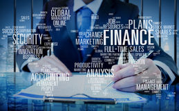 Concept de comptabilité global de gestion d'analyse de sécurité de Finanace images stock