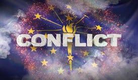 Concept de conflit État de drapeau d'Indiana pays des pavillons Etats-Unis illustration 3D photographie stock