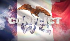 Concept de conflit État de drapeau d'Iowa pays des pavillons Etats-Unis illustration 3D illustration de vecteur