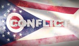 Concept de conflit État de drapeau d'Ohio pays des pavillons Etats-Unis illustration 3D illustration libre de droits