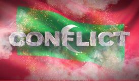 Concept de conflit en Maldives Texture fortement détaillée ondulée de tissu illustration 3D photos libres de droits