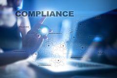 Concept de conformité sur l'écran virtuel Politique, règles, règlement de loi illustration libre de droits