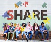 Concept de connexion de communication d'échange de distribution de part Image libre de droits