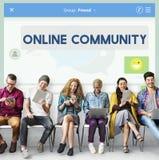 Concept de connexion de communication d'amis de la communauté en ligne Image stock