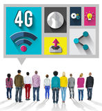 concept de connexion de communication d'Internet de la technologie 4G Photos stock