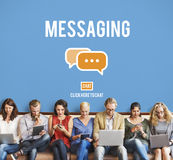 Concept de connexion de mise en réseau de connexion des textes de transmission de messages Photos libres de droits