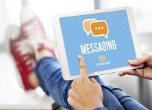 Concept de connexion de mise en réseau de connexion des textes de transmission de messages Photos stock