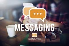 Concept de connexion de mise en réseau de connexion des textes de transmission de messages Images stock