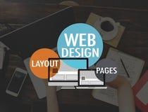 Concept de connexion de page de disposition de WWW de site Web de web design Photos libres de droits