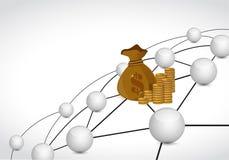 concept de connexion réseau de sphère de lien d'argent Image libre de droits