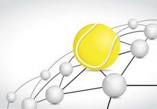 concept de connexion réseau de sphère de lien de tennis Images stock