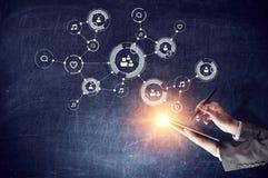 Concept de connexion sans fil et de nouvelle technologie Media mélangé Images stock