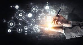 Concept de connexion sans fil et de nouvelle technologie Media mélangé Media mélangé illustration de vecteur