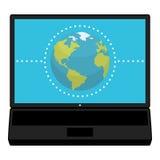 Concept de connexion sur l'icône plate d'ordinateur portable Photos stock