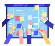 Concept de conseil de bousculade avec les mains humaines collant les papiers colorés et les tâches d'écriture sur le conseil bleu illustration stock