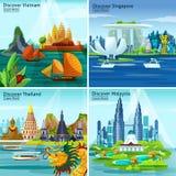 Concept de construction asiatique du voyage 2x2 illustration de vecteur