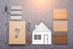 Concept de construction avec l'échantillon matériel avec la pierre, bois témoin, SA Image libre de droits