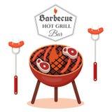 Concept de construction de barbecue Calibre de gril de BBQ illustration de vecteur