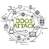 Concept de construction coloré plat pour l'attaque de Ddos Photos libres de droits