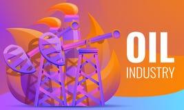 Concept de construction d'huile de pompage de plates-formes pétrolières illustration stock