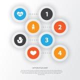 Concept de construction d'icône de jour de mères Ensemble de 4 tels éléments comme la femelle, le bébé et le texte Beaux symboles Photo stock
