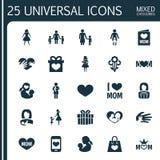 Concept de construction d'icône de jour de mères Ensemble de 25 tels éléments comme le cadeau, mère de Madame And Gift To Beaux s Photographie stock libre de droits