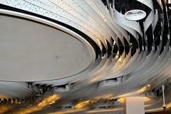 concept de construction de lumière d'art moderne dans l'aéroport de Schiphol en Hollande Image libre de droits