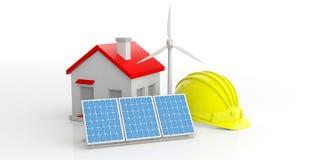 Concept de construction de maison verte illustration 3D Photos stock