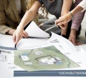 Concept de construction de modèle de carte de plan d'architecture de l'espace de fonctionnement de Co photo stock