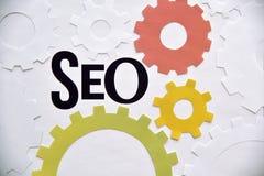 Concept de construction de SEO pour des bannières de Web Photo libre de droits