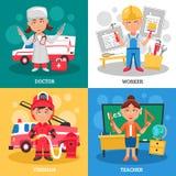 Concept de construction des professions 2x2 Illustration Stock