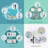Concept de construction des soins de santé 2x2 d'infirmière illustration stock