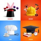 Concept de construction différent de chapeaux de professions Illustration de Vecteur