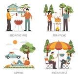 Concept de construction du barbecue 2x2 Illustration Libre de Droits